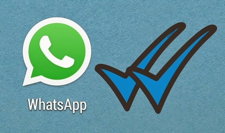 Left or right whatsapp azul tick doble